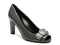 Final Sale - Gucci Patent Leather Interlocking G Peep Toe Pump
