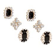One Wink Black Crystal Earring Trio
