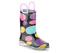 Western Chief Doodle Dots Girls Toddler & Youth Light-Up Rain Boot