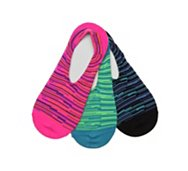 Converse Multi Bright Stripe Womens No Show Socks - 3 Pack