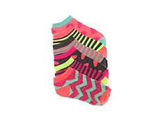Olive & Edie Fuzzy Pattern Girls No Show Socks - 6 Pack