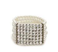 One Wink Rhinestone Plated Pearl Stretch Bracelet