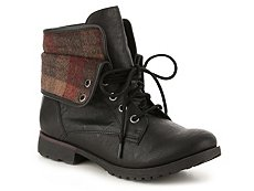 Rock & Candy Spraypaint Plaid Combat Boot