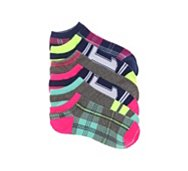 Mix No. 6 Bright Plaid Womens No Show Socks - 6 Pack