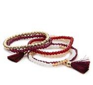 One Wink Beaded Tassel Stretch Bracelet Set