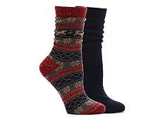 HUE Tweed Fairisle Womens Boot Socks - 2 Pack