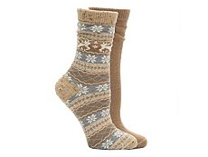 HUE Tweed Fairisle Womens Boot Socks - 2 Pack