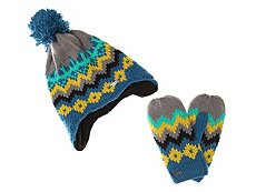 Chaos Fairisle Pom Kids Hat & Glove Set