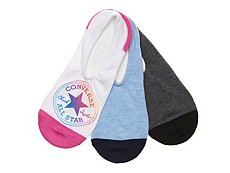 Converse Patch Star Womens No Show Socks - 3 Pack