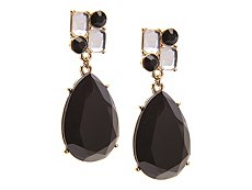 One Wink Square Black Teardrop Drop Earrings