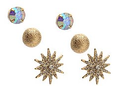 One Wink Gold Star Trio Stud Earring Set