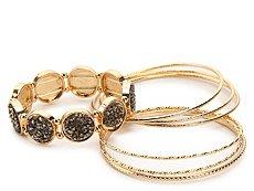 One Wink Gold Glitter Stone Bangle Set