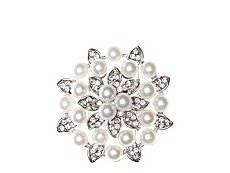 One Wink Pearl Rhinestone Flower Brooch