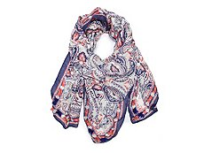Kelly & Katie Coral Paisley Square Scarf