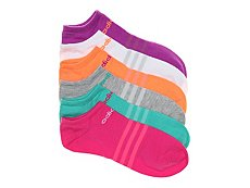 adidas Superlite Multi Bright Womens No Show Socks - 6 Pack