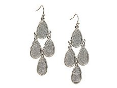 One Wink Silver Glitter Chandelier Earrings