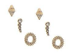 Wheel & Diamond Stud Trio Earring Set