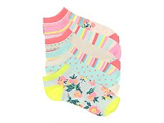 Mix No. 6 Striped Floral Womens No Show Socks - 6 Pack