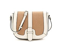 Emilie M. Straw Buckle Crossbody Bag