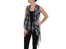 Roffe Accessories Plaid Chiffon Vest