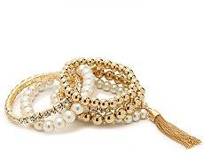 One Wink Gold Bead Stretch Bracelet Set
