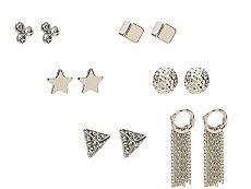 One Wink Silver Star Stud Earring Set - 6 Pack