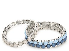 One Wink Blue Bead Stretch Bracelet Set