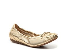 Final Sale - Hogan Studded Metallic Leather Ballet Flat