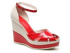 Final Sale - Hogan Patent Leather Canvas Wedge Sandal