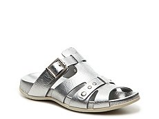 Final Sale - Hogan Metallic Leather Flat Sandal