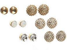 One Wink Gold Gem Stud Set Earrings