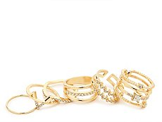One Wink Gold Triangle Ring Set - 6 Pack