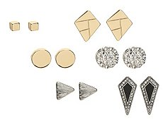 One Wink Black & Silver Stud Earring Set