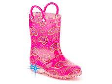 Olive & Edie Lovie Girls Toddler Light-Up Rain Boot