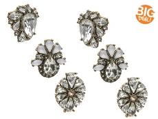 Jem & Jules Crystal Floral Trio Stud Earring Set