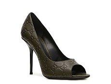 Gucci Embossed Leather Peep Toe Pump