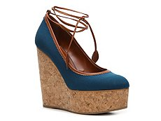 Sergio Rossi Canvas Wedge Pump