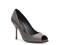 Sergio Rossi Pebbled Leather Peep Toe Pump