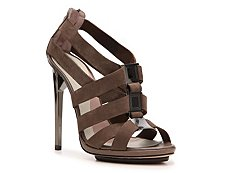 Herve Leger Clara Nubuck Leather Cutout Sandal