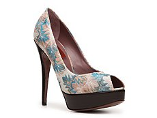 Missoni Printed Fabric Peep Toe Pump