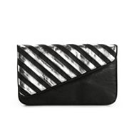 Poppie Jones Stripe Side Flap Clutch