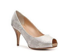Giuseppe Zanotti Metallic Printed Reptile Leather Peep Toe Pump