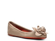 Santoni Leather Flower Flat