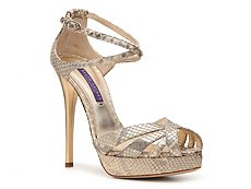 Ralph Lauren Collection Jeanne Metallic Reptile Leather Sandal