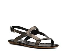 Santoni Metallic Leather Flat Sandal