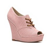 BC Footwear Ruffle Striped Wedge Bootie