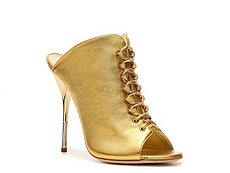 Giuseppe Zanotti Metallic Leather Peep Toe Mule