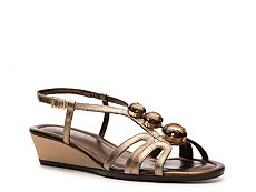 Rangoni by Amalfi Maddelena Metallic Leather Wedge Sandal