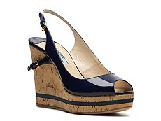 Prada Patent Leather Wedge Sandal