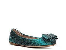 Miu Miu Reptile Leather Bow Flat